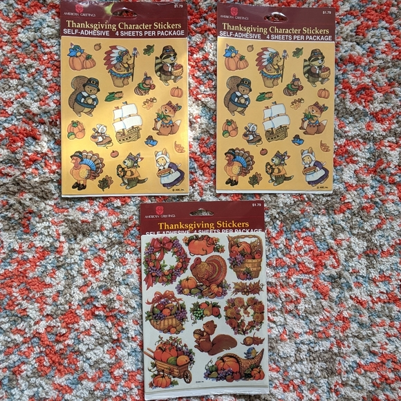 Vintage Stickers Thanksgiving American Greetings Sticker Sheet VTG
